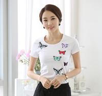 New design fashion korean style cotton tops short sleeve t-shirt ladies butterfly print clothes women custom summer blouse