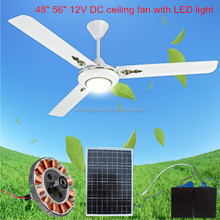 Latest model ceiling 48inch or 56inch solar dc decorative ceiling fan with light