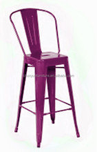 Metal material and home furniture general use high back metal chair with purple color