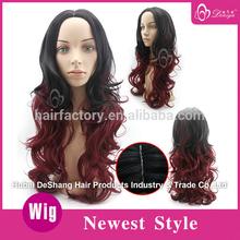 Deniya red and black highlights hair wig