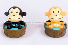 monkey with pot pvc keychain for girls or cellphone