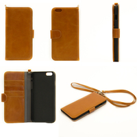 Custom leather tan flip case 5.5 inch mobile phone case for iphone 6 pc case