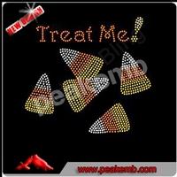 Treat Me Halloween Rhinestone Diamante Transfer Iron On Hotfix Gem Crystal Motif