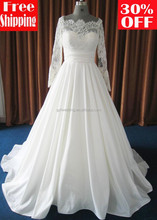 2014 Free shipping A-line floor length long train long sleeve off shoulder france lace and taffeta muslim wedding dress 15020