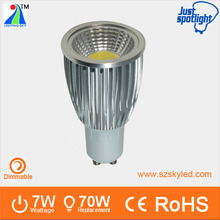 7w gu10 lamp base aluminum spotlight fire rated dimmable led cob light