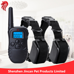 Blue lighting 300 Yard Rechargeable LCD 4 in 1 Remote Dog Collar with 100lvs Shock Vibrate for Two Dogs (Black)