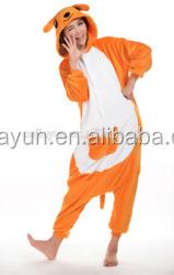 Wholesale kangaroo adult cartoon flannel full body winter pajamas adult onesie