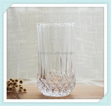 Embossed diamond water drinking glass promotional wholesale drinking glass with good quality