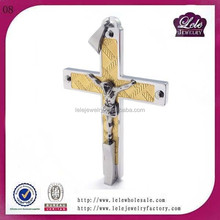 LELE JEWELRY Jesus Christ Pendant Cross Charm Pendant Necklace Stainless Steel Pendant