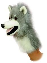 """Plush wolf Puppet - 10"""" plush hand puppet wolf"""