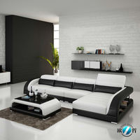 White genuine leather round conner leather sofa manufacture