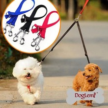 Trade Assurance 1 lead 2 Nylon Pet Dog Double Puppy Leashes Lead Harness Belt Rope One Leashes Can take two dogs Hot Selling