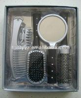 Round plastic comb set with mirror and hair brush straightener