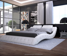 Simple bedroom furniture,white wave shaped faux leather bed