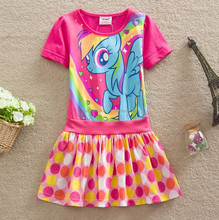 2015 new arrival my little pony summer dress wholesale polka dots dress princess dress