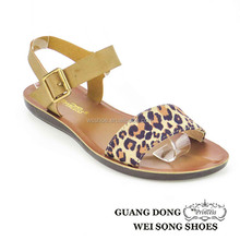 ankle strap flat leopard vamp open toe casual PU sole new style summer sandal
