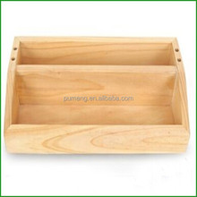Pine Solid Wood 2 Layer Cosmetic Organizer Box Makeup Bag Case
