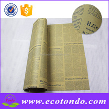 factory customized newspaper printed flowers wrapping paper baby birthday