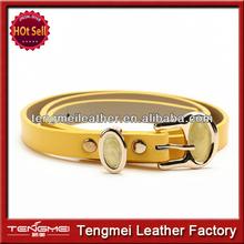2014 New Fashion Girls PU Leather Crystal Thin Women Ladies Belts fashion ladies belts