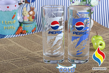 clear glass 350ml drinking glass with cold color changing