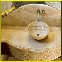Precut resin yellow marble onyx vanity tops, China yellow onyx bathroom vanity tops