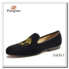 Medusa Brandy Shoes Men Black Velvet Loafers Fashion Slippers Leather Lining
