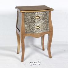 popular carving aluminum two drawers side cabinet bedside furniture