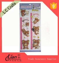 Hot item cartoon animals wall stickers growth chart, pvc wall chart