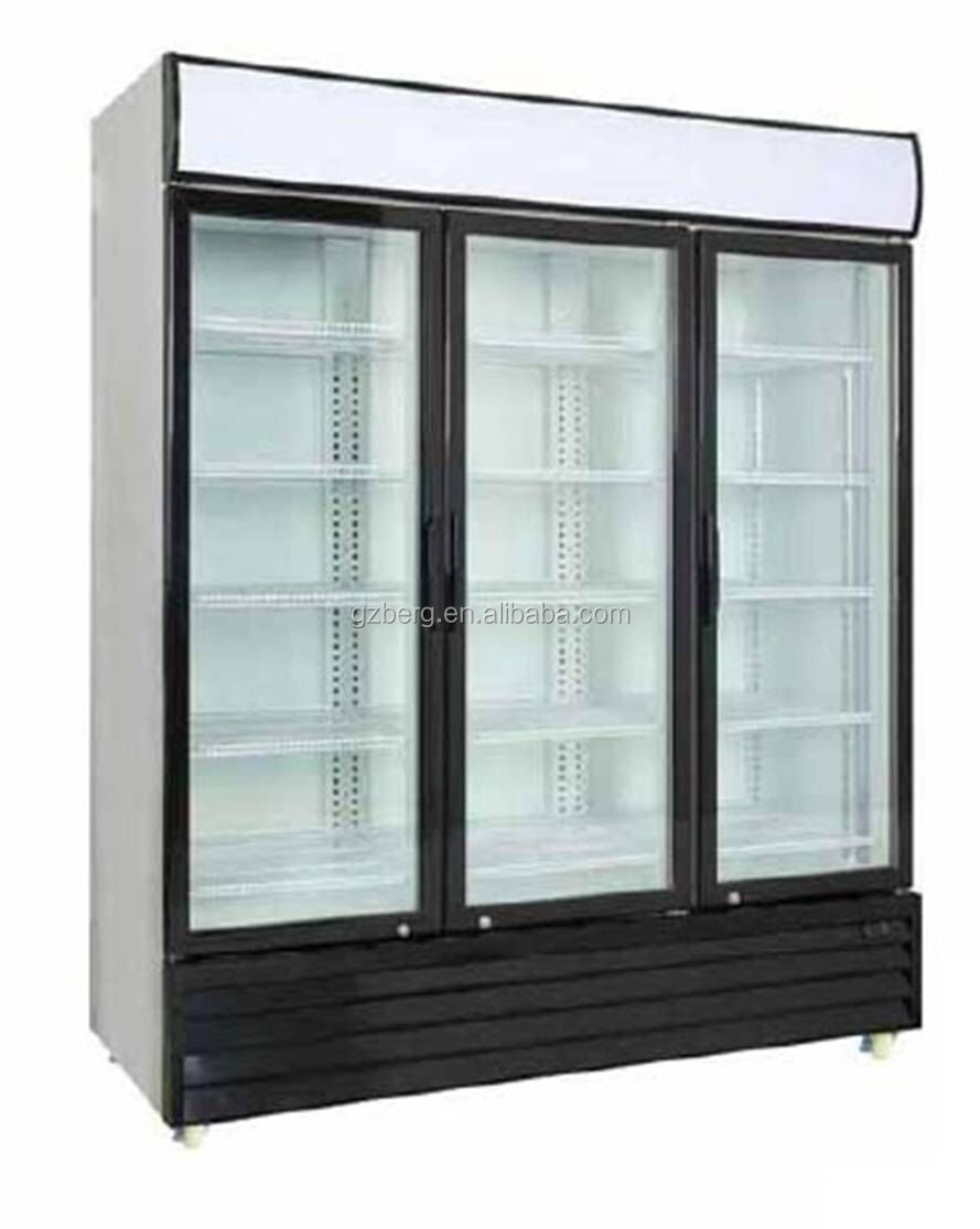 commercial fan cooling display refrigerator 1500L three hinge door beverage display refrigerator