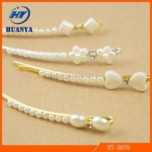 Korean Hair Accessories Elegant Diamond Pearl Bow Hairpins for Girls