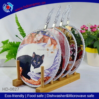 hot sale ceramic plaque print cat picture,decorative table mats with ribbon