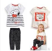 Girls outfits T-shirt+pants short sleeve dot for summer cute 6sets/lot