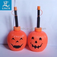 Halloween Pumpkin Shaped Plastic Bottle With Straw