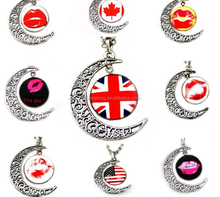 Time Gem Cabochon British National Flag Necklace,Alloy Crescent Pendant necklace With Flags&lip