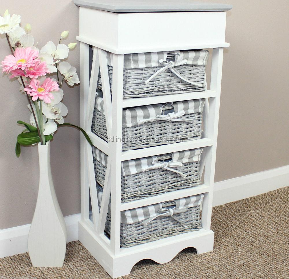Fashion White Grey Drawer Wicker Basket Wood Chest Display Cabinet ...