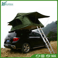 Camping Trailer Green Canvas Fiberglass Car Roof Top Tent With Awning
