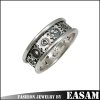 Stainless steel ring jewelry rotating gear ring