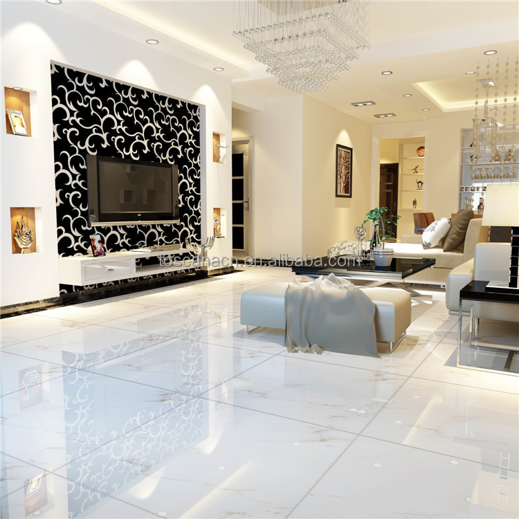 Glazed Porcelain Tile Gloss White Floor Tile Exterior Flooring Stone ...