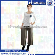 Custom plain color wide leg loose pants , ladies gaucho pants , women palazzo pants with self draw cord