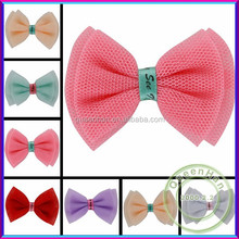In Stock 2.1'' Mesh Yarn Silk Hair Net Bows With Alligator Clips,Boutique Hair Bows For Shoe Decoration