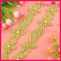 wholesale beaded ab neckline rhinestone applique for sash WRA-712