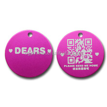For female pets design have id dog tag with QR scan code pink color