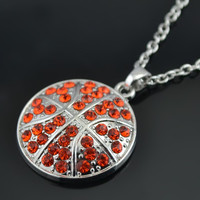 Wholesale Alibaba Eco-friendly Crystal Basketball Silver Color Pendant Necklace Yiwu Costume Jewellery