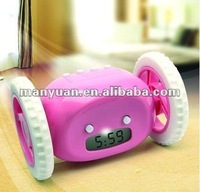 CT-16 Funny Attractive running alarm clock with wheel