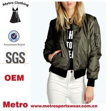 Women Hot Style Waterproof Olive Green Custom Bomber Jackets