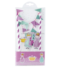 Delicate DIY Fairytale Castle Princess Birthday Party Decoration Paper Cake Wrapper Flag Set