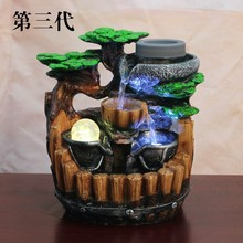 Resin Tabletop fountain Waterfall Indoor Electric Tabletop Water Fountain with LED Light