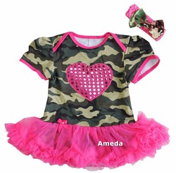 Baby Bling Heart Camo Printed Hot Pink Tutu Bodysuit and Headband