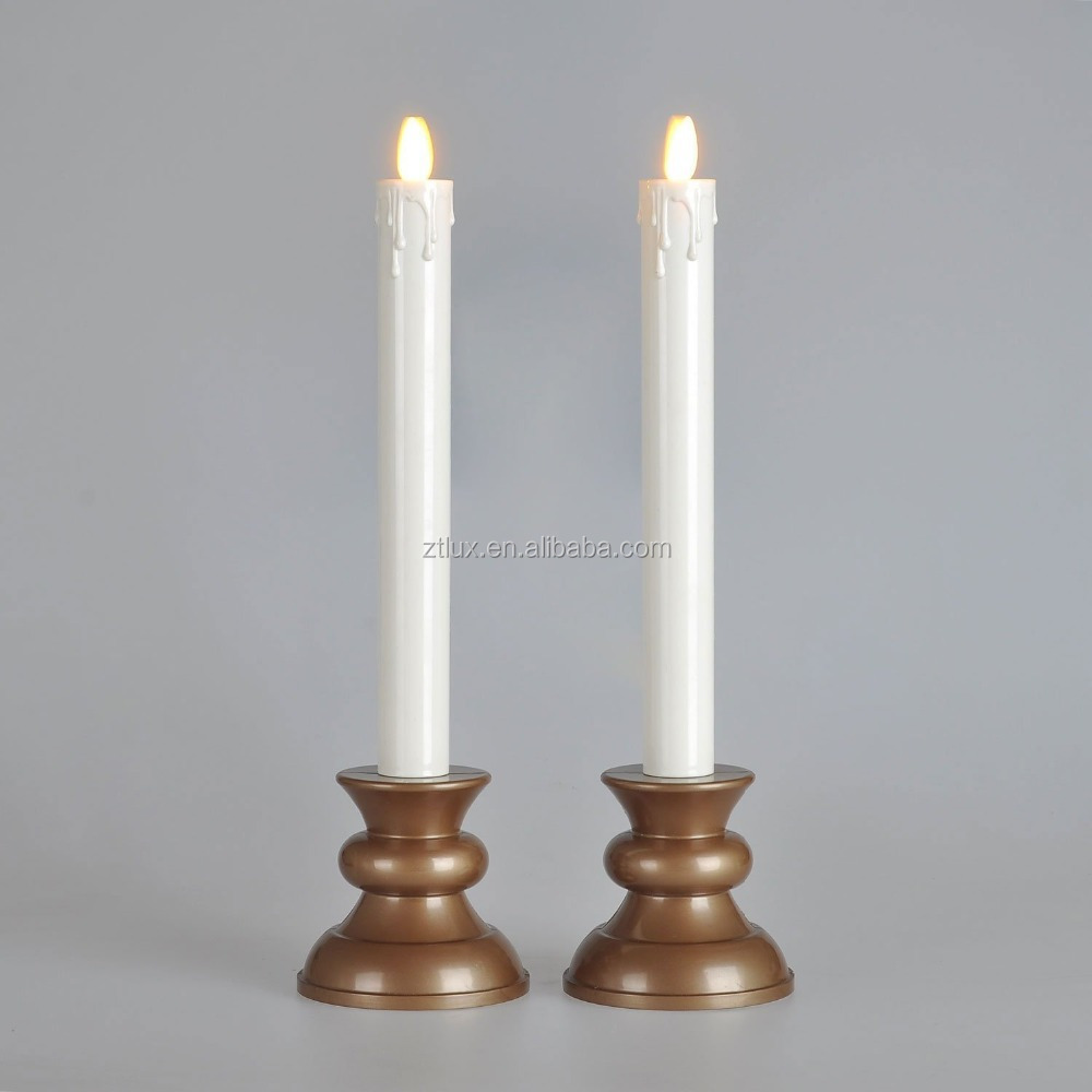 Moving flame flat top flameless taper window candles with for Flat candle holders
