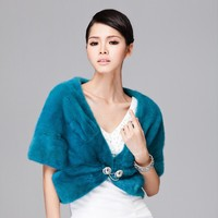 fifth sleeve winter short dyed lady blue mink fur cappa